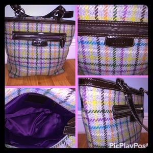 Coach Wool material tote Grey multi-colored plaid
